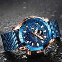 Crrju relojes para hombre, marca superior, reloj de cuarzo de lujo para hombre, correa de malla, reloj deportivo impermeable de lujo para hombre, reloj de pulsera para hombre