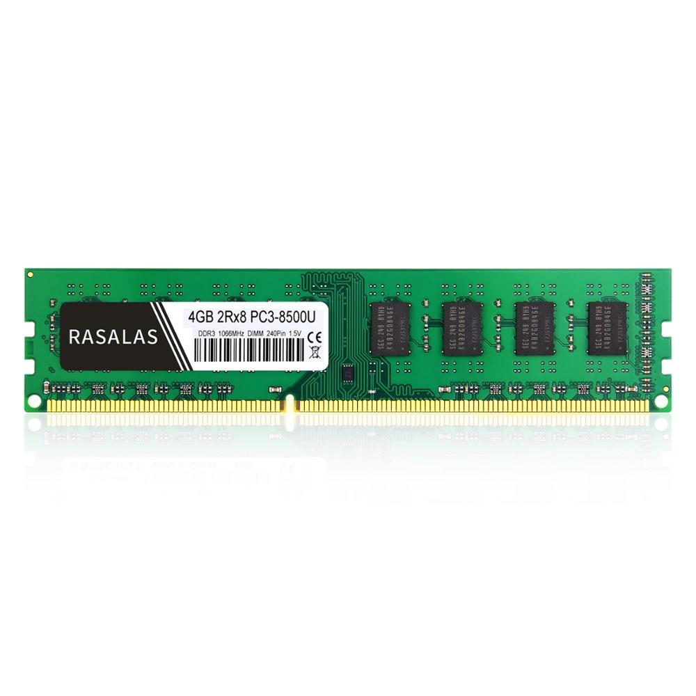 Rasalas <font><b>4GB</b></font> 2Rx8 PC3-8500U <font><b>DDR3</b></font> <font><b>1066Mhz</b></font> 1,5 V 240Pin No-Ecc DIMM Desktop PC <font><b>RAM</b></font> Fully compatible Memory image
