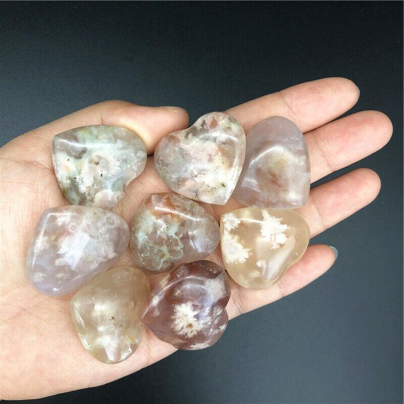 Оптовая продажа, 1 шт., натуральный цветок вишни, агат, сердце, кожа, исцеление рук, Декор, натуральные кварцевые кристаллы