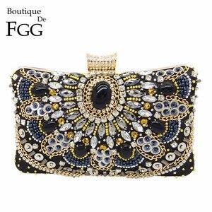 Image 1 - Boutique De FGG VINTAGEผู้หญิงสีดำBeadedคลัทช์กระเป๋าสุภาพสตรีกล่องโลหะClutchesงานแต่งงานค็อกเทลกระเป๋าถือกระเป๋าถือ