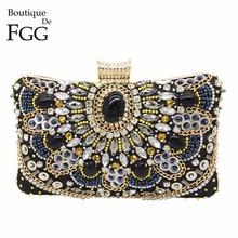 Boutique De FGG Vintage kobiety czarne zroszony torebki wieczorowe damskie pudełko metalowe saszetki koktajl weselny torebki na imprezę torebki