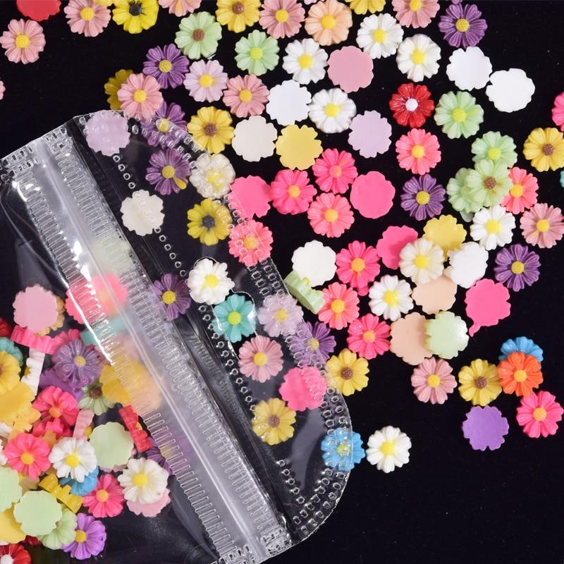 100 искусственный цветок маргаритки, полимерные Стразы для ногтей своими руками, подвески для ногтей, шипы для дизайна ногтей, украшения, стр...