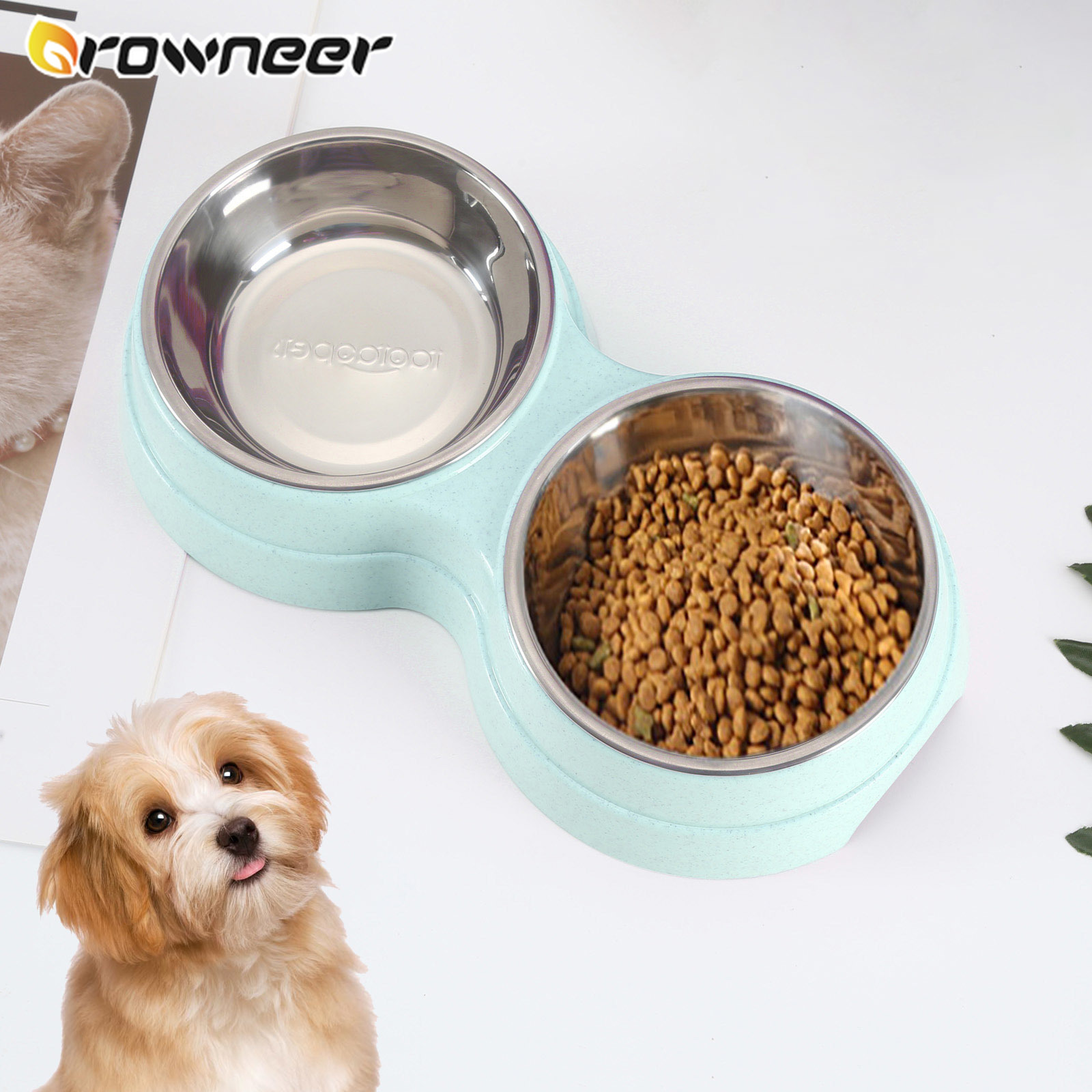 Dog Feed Drinking Bowl Candy Colors Double Dish Pet Feeders Set Removable Stainless Steel Straw PP Splash-proof Pet Supplies