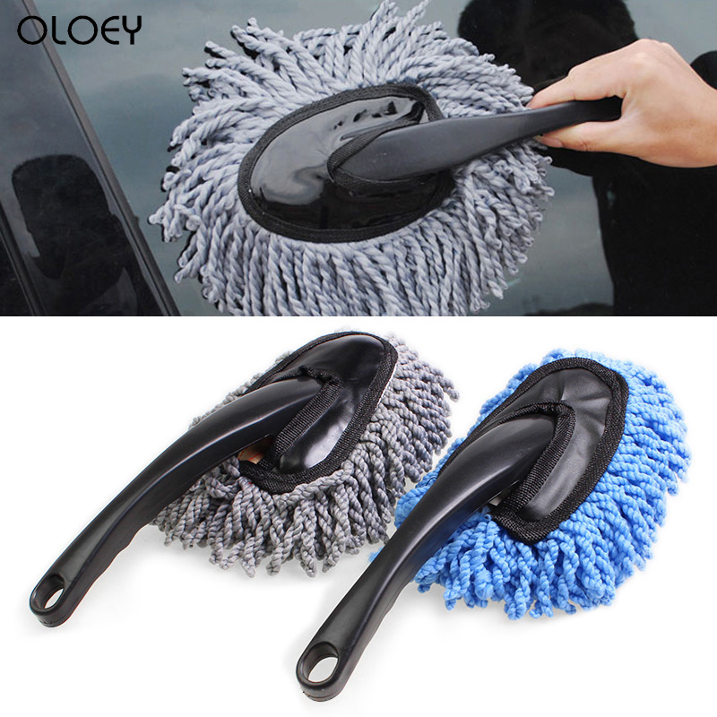 OLOEY 1PC Car Wash Brush Habdle Vehicle Clean Tool Soft Mop Dusting Tool Microfiber HOT Car Washing Cleaning Brushes