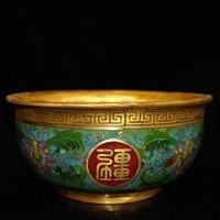 Exquisite antique copper Cloisonne silk bowl ornament