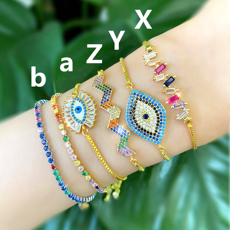 Lucky Eye Colorful Shell Evil Eye Beaded Bracelet Golden Chain Geometric Charms Bracelet For Women Female Adjustable Gift LE174 in Charm Bracelets from Jewelry Accessories