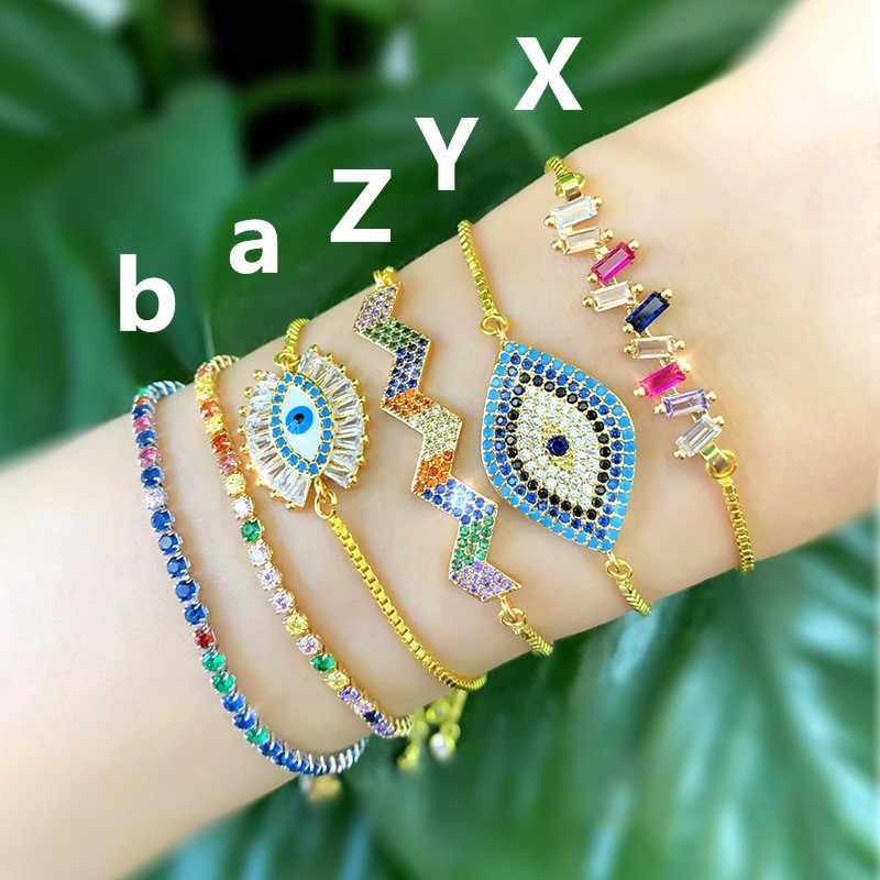 Lucky Eye kolorowe etui Evil Eye bransoletka z paciorkami złoty łańcuch geometryczne Charms bransoletka dla kobiet kobieta regulowany prezent LE174