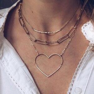 Большая ажурная цепочка с сердечком docona в стиле панк, ожерелье для женщин и девочек, золотые подвески для любви, многослойное ожерелье, вече...