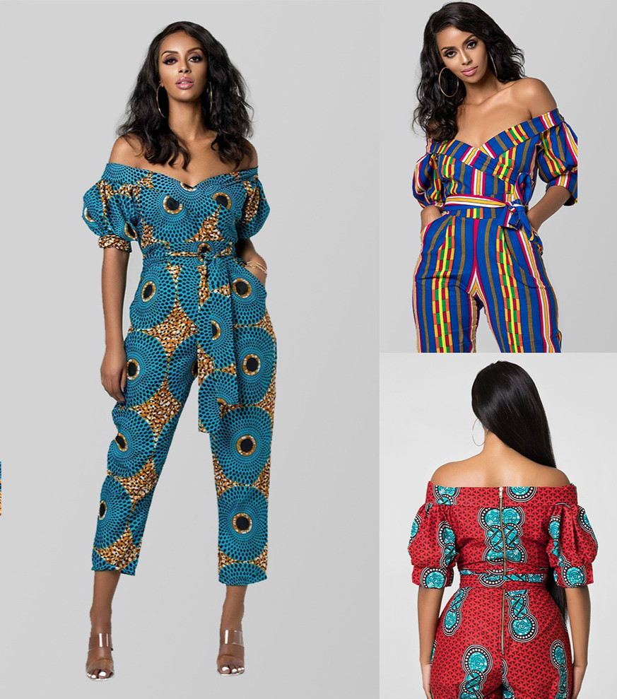 2019 New Summer Elegent Fashion Style African Women Printing Plus Size Long Jumpsuit