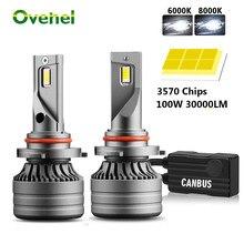 OVEHEL 2Pcs H4 LED H7 100W 30000LM Canbus H1 H8 H9 H11 LED 9005 HB3 9006 HB4 Car LED Light Headlight Turbo Fog Lamp 6000K 12V