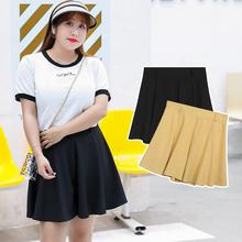 【Chubby Girls】Large rozmiar damski koreański college styl preppy spódnice tłuszczu mm plus rozmiar spódnica szyfonowa dla kobiet x147 tanie tanio spandex Lanon Osób w wieku 18-35 lat Plisowana NONE WOMEN Naturalne Stałe W stylu Preppy Powyżej kolana Mini