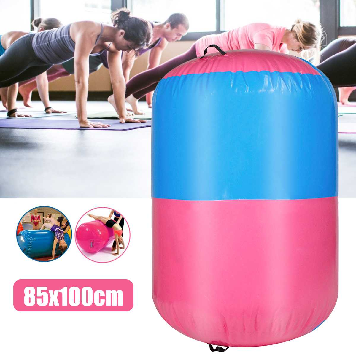 100x85cm Inflatable Airtrack Air Mat Home Roller Small Airtrack Gymnastics Mat Cylinder Gym Training Sport Fitness