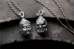 Image 5 - Handcrafted 100% 999 Silver Buddha Head Pendant Vintage Pure Silver Buddha Statue Amulet Pendant Buddha & Devil Man Pendant