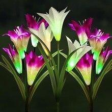 لوازم حديقة بالطاقة الشمسية إضاءة خارجية مضادة للماء 7 تغيير لون الإضاءة أبيض/الأرجواني زهرة Led الجنية ضوء مصباح حديقة زينة عيد الميلاد