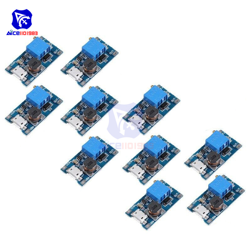 10PCS MT3608 DC-DC 2-24V To 5-28V 6V 12V 24V 2A Boost Step Up Converter Module Micro USB Interface Adjustable 3296 Potentiometer