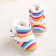 Hot Winter Boy Girls Baby Rainbow Soft Cotton Sole Snow Boots Warm Crib Shoes Toddler First Walkers Fashion Cute Bow Prewalker fashion baby shoes newborn girls boys warm rainbow snow boots toddler first walkers infant sweet soft sole prewalker crib shoes