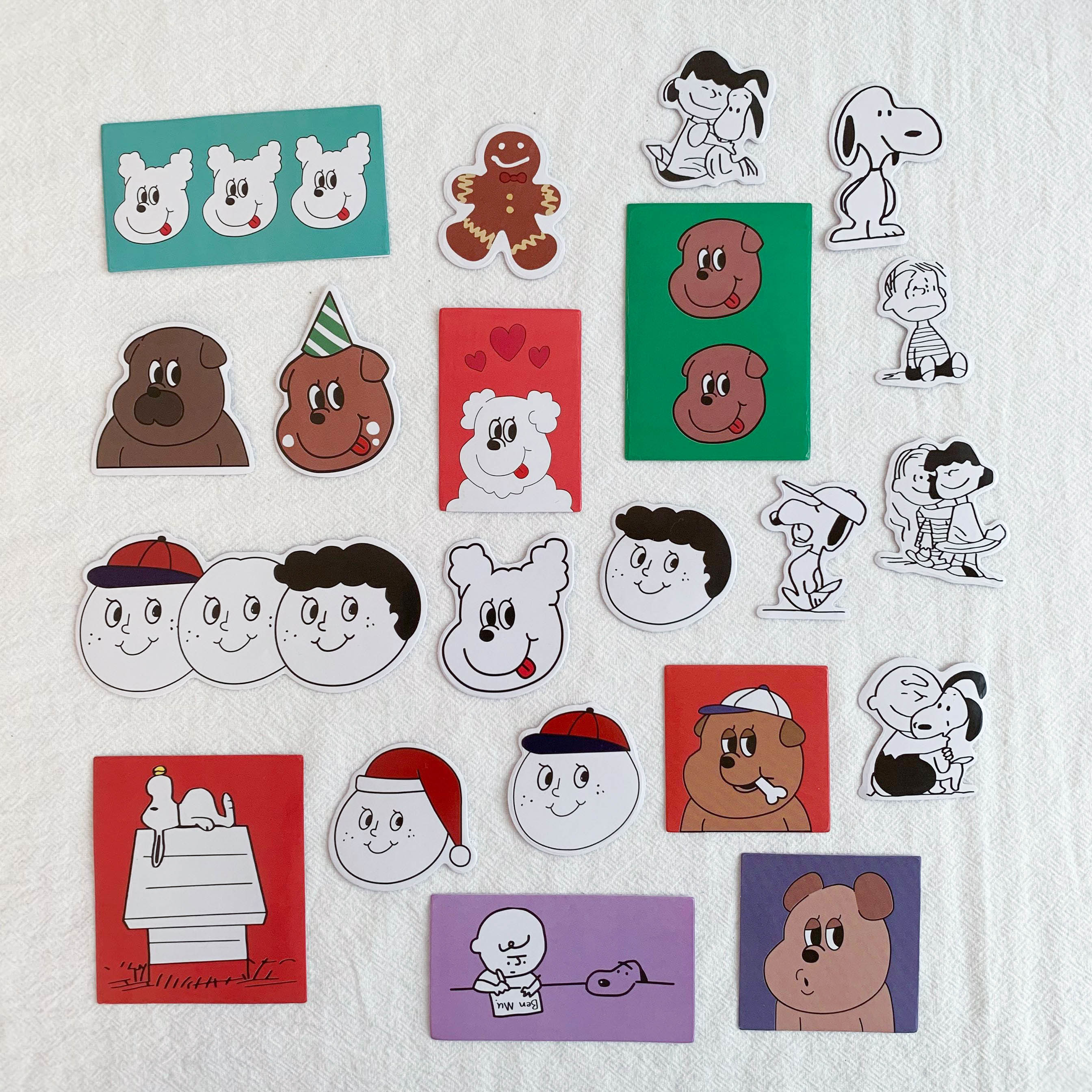 SIXONE 21 Pc Ins Cartoon Snoopy Smiling Face Decorative Sticker Kawaii Girl Stickers Scrapbooking Wall Decoration Stationery