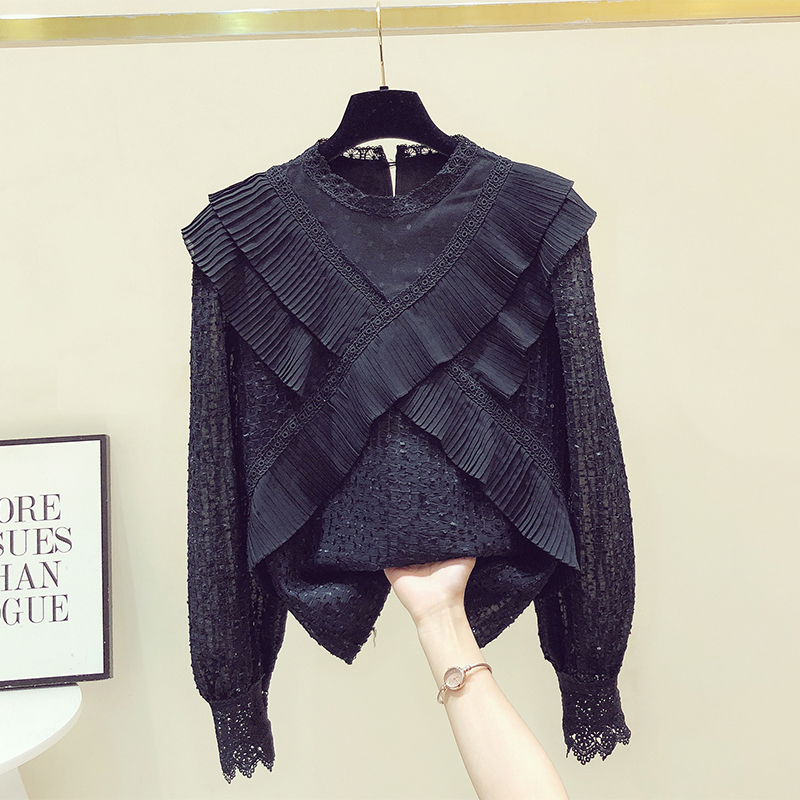 2021 Spring Autumn New Lace Round Neck Long Sleeve Tops for Women Elegant Shirt Pleated Ruffled Shirts Stitching Womens Blouse