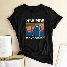 Pew Pew Madafakas t-shirt con stampa donna estate 2020 Graphic Tees camicie divertenti per donna T shirt girocollo allentato Harajuku top