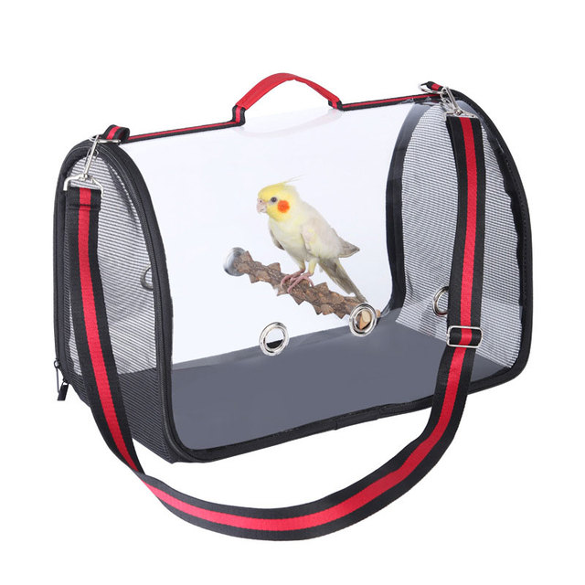 Portable Travel Bird Cage with Wooden Standing Stick Transparent Parrot handbag breathable shoulder bag Birds cage outdoor 1