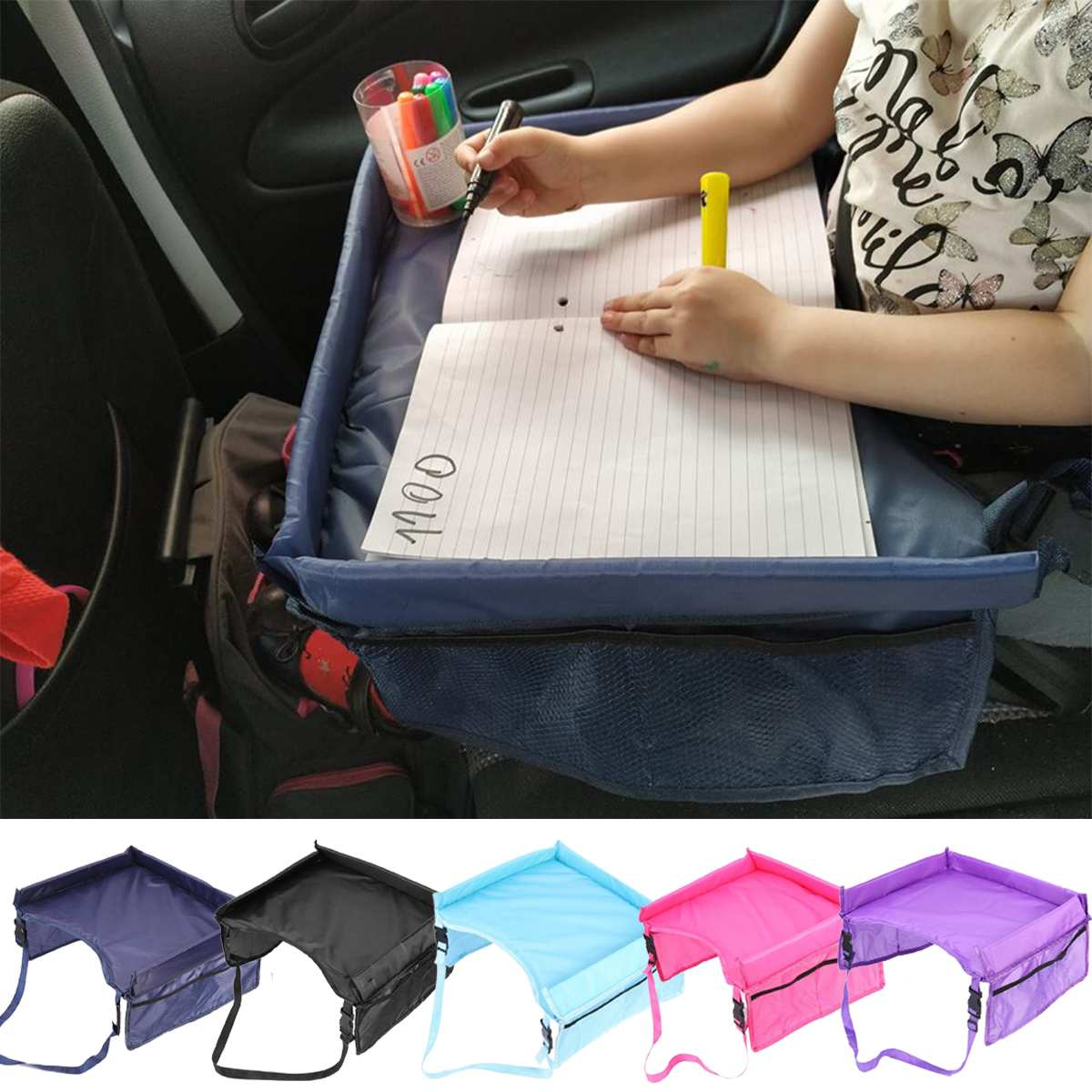 Child Car Seat Tray Storage Rack Car Rear Trunk Storage Net Waterproof Baby Car Home Table Baby Stroller Food Desk Holder