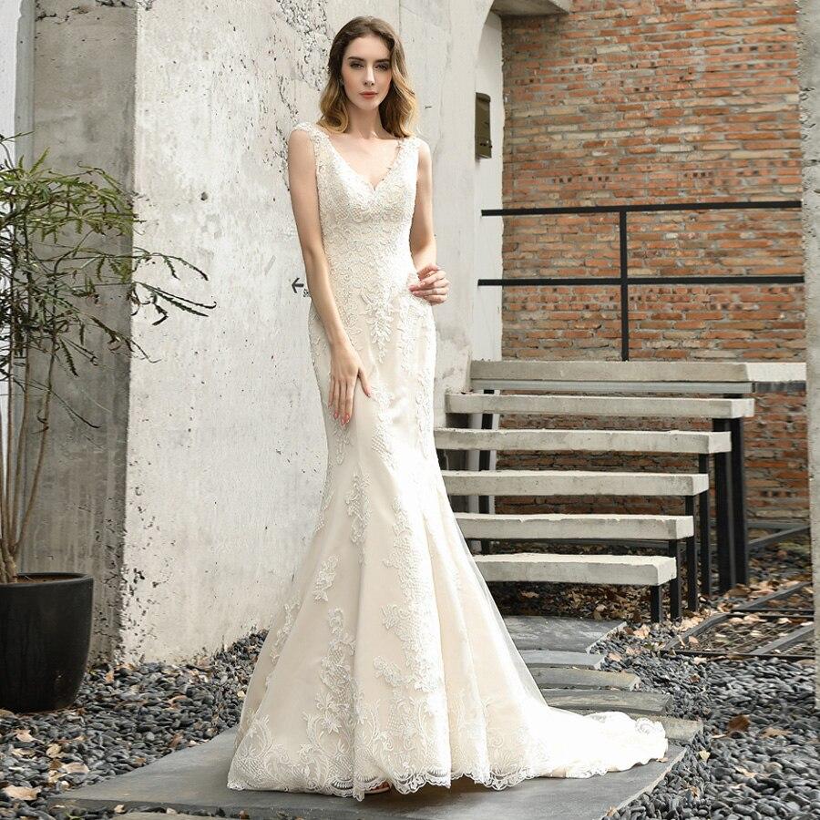 ADLN Свадебные платья русалки 2020, свадебное платье с коротким рукавом и v-образным вырезом и жемчужной аппликацией, платье без спинки на заказ