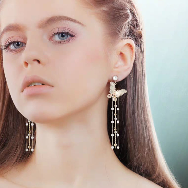Stud Earrings 2020 Trendy French Long Tassel Earrings Decorative Temperament Butterfly Tassel Earrings Vintage Stud Earrings