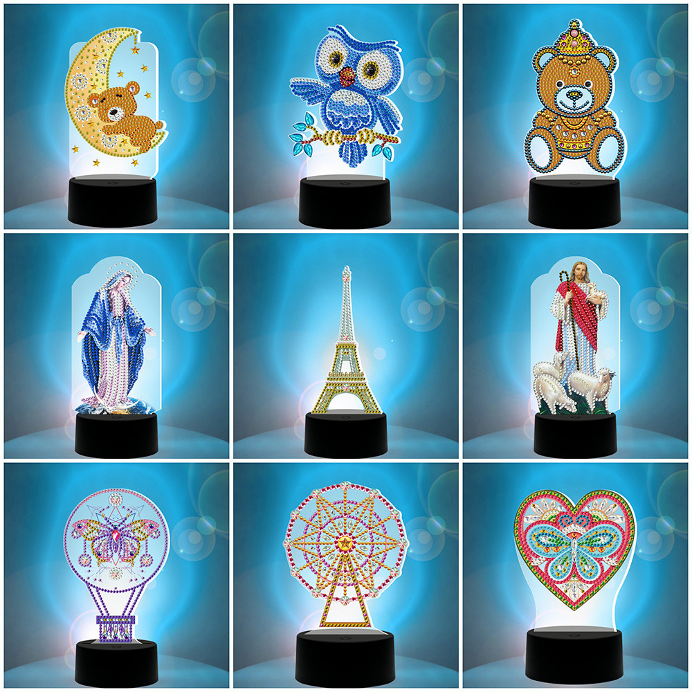 HUACAN LED Lamp Diamond Painting 5D Light Diamond Embroidery Colorful Seven Lights Mosaic Religion Home Decor