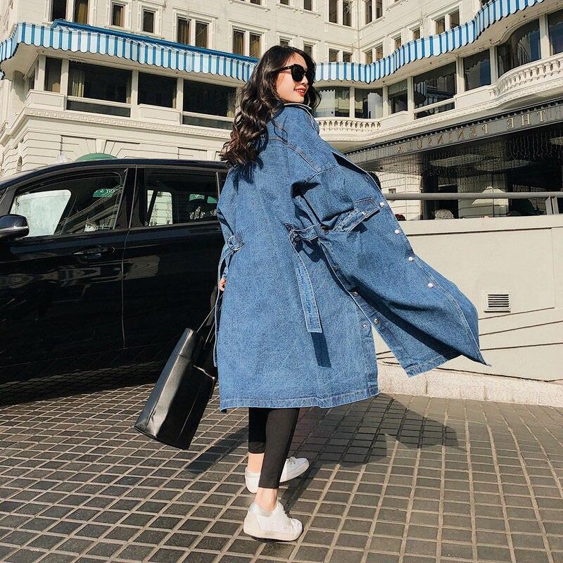 Lapel Women Loose Denim Trench Coat Long Windbreaker Vintage Long Sleeve Overcoat Winter Autumn Bandage Coat Mujer Abrigos F1485