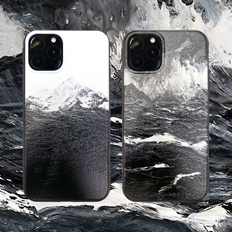 Ondas do mar neve montanha pintura caso de borracha para apple iphone xs max macio tpu mão corda escudo capa para iphone 11 pro max