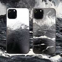 Sea Waves Snow Mountain Painting Rubber Case for Apple iPhone XS Max Soft TPU Hand Rope Shell Cover for iPhone 11 Pro Max