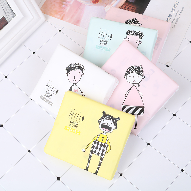 60Pcs/Pack Portable Colorful Cartoon Printing Napkins Thickened Cute Sanitary Paper 3 Ply Disposable Facial Paper Tissues Random