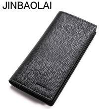 Длинный мужской кошелек jinbaolai из натуральной кожи повседневный