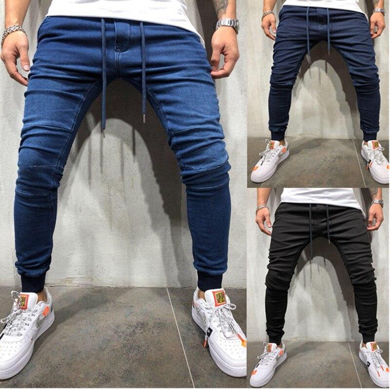 Men's Stretchy Wrinkle Skinny Biker Jeans Pencil Pants Slim Denim Pants Mens Elastic Waist Harem Pants Men Jogger Clothes
