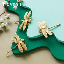 Brass Drawer Handles Cabinet-Knobs Dragonfly Minimalist Pull Decoration Wardrobe Cupboard