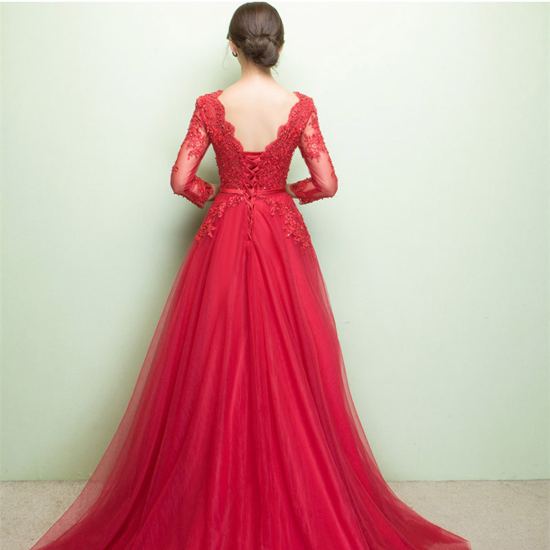 Beauty Emily V Neck Elegant Evening Dresses Long 2020 for Women Beading Lace Up Back Pearls Prom Gowns Party Dress Plus Size 4