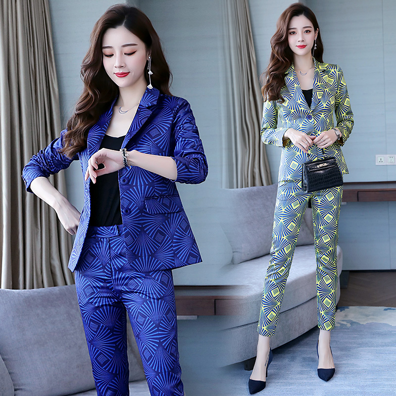 Famous Yuan Hong Kong style new women's wear professional suit printed small suit trousers show thin two-piece fashion 18