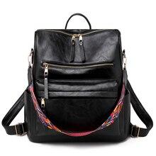 цены Female Bohemia Style Shoulder Bag PU Leather Travel Backpack High Quality School Bag For Girls Women
