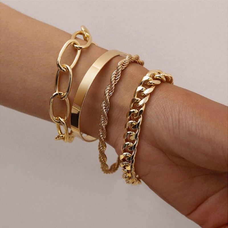 New Bohemian Gold Pearl Beads Bracelet Chains Multilayer Bracelet for Girls Punk Jewelry 2021 trend Lady charms Women's Bracelet