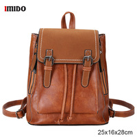 Ladies Vintage Backpack Classic Fashion PU Leather Rucksack Womens Waterproof College Backpacks Female Travel Shoulder Bag Brown