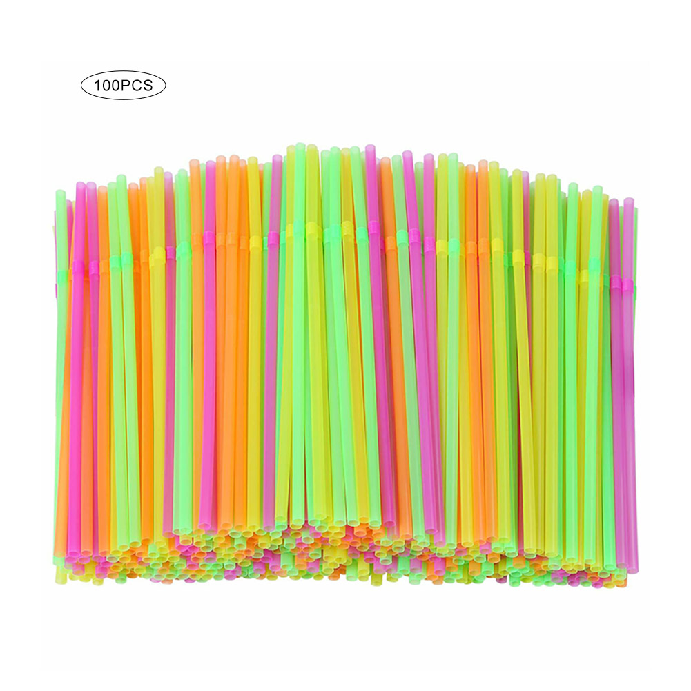 100Pcs Fluorescent Plastic Bendable Drinking Straws Disposable Beverage Straws Wedding Decor Mixed Colors Party Supplies