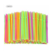 100 pièces fluorescentes en plastique pliable pailles à boire jetables boisson pailles décor de mariage couleurs mélangées fournitures de fête