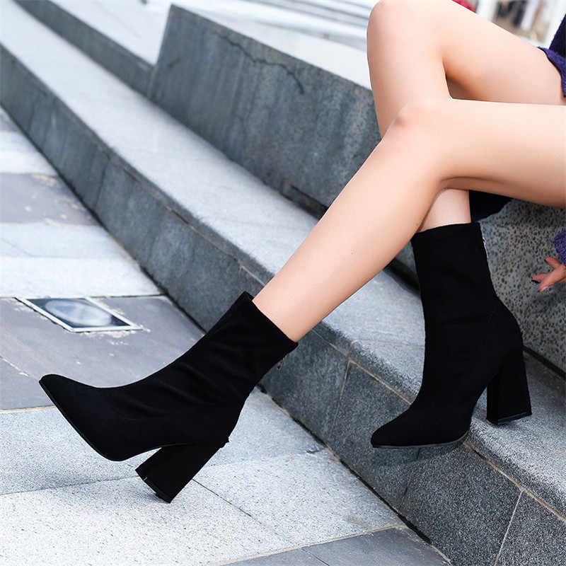 2019 automne et hiver nouvelles femmes confortables bouche peu profonde pointu bottes femmes fermeture éclair simple doux sauvage bottes t01