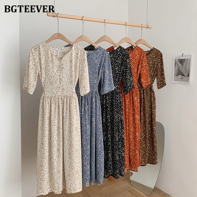 BGTEEVER Vintage Single-breasted Floral Print Women Dress 2020 Summer V-neck Lace-up Female Dress Elegant A-line Vestidos Femme