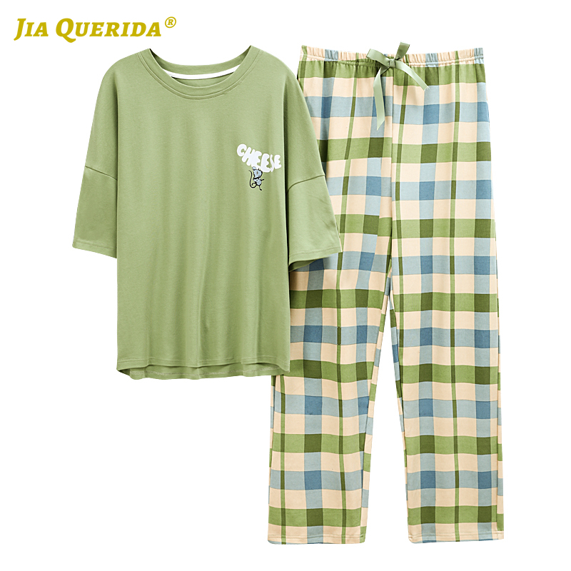 Spring Crew Neck Plus Size Woman Clothes Pajamas For Women Pjs Women Sleepwear Short Sleeve Plaid Pants Homesuit Homeclothes