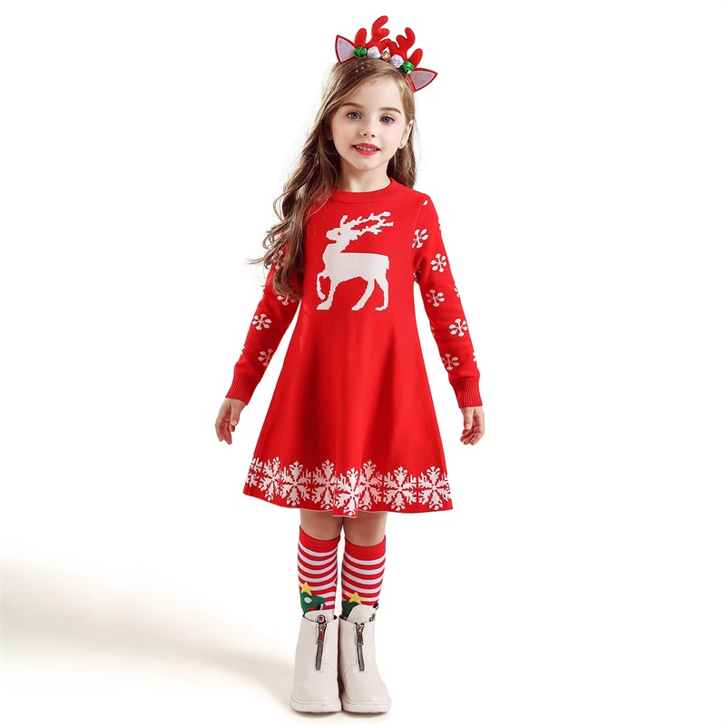 Kids Dresses For Girls Long Sleeve Deer Snowflake Print Dress New Year Costume Princess Dress Kids Kids Dresses For Girls Long Sleeve Deer Snowflake Print Dress New Year Costume Princess Dress Kids Christmas Clothes Vestidos
