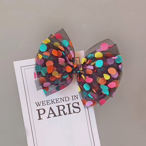 Image 3 - 8pcs/set Colorful Dot Mesh Hair Bows for Girls Multi layer Kids Hair Clips Beautiful HairPin Handmade Hairgrips Hair Accessories