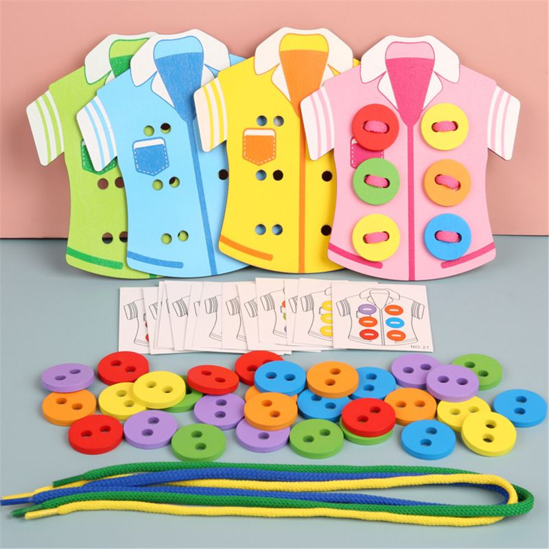 Kids Montessori Educational Toys Children Wooden Beads Lacing Board Toys Toddler