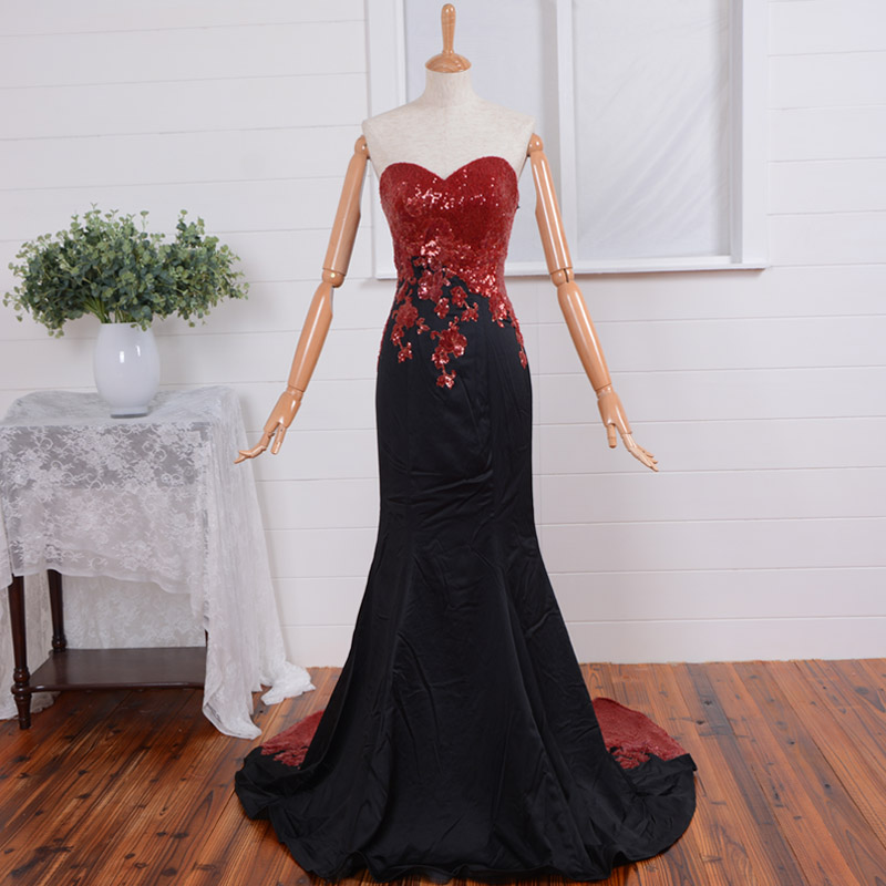 Vestido De Festa Prom Gown Sexy Robe De Soiree 2018 New Style Sweetheart Red Sequined Appliques Back Formal Bridesmaid Dresses
