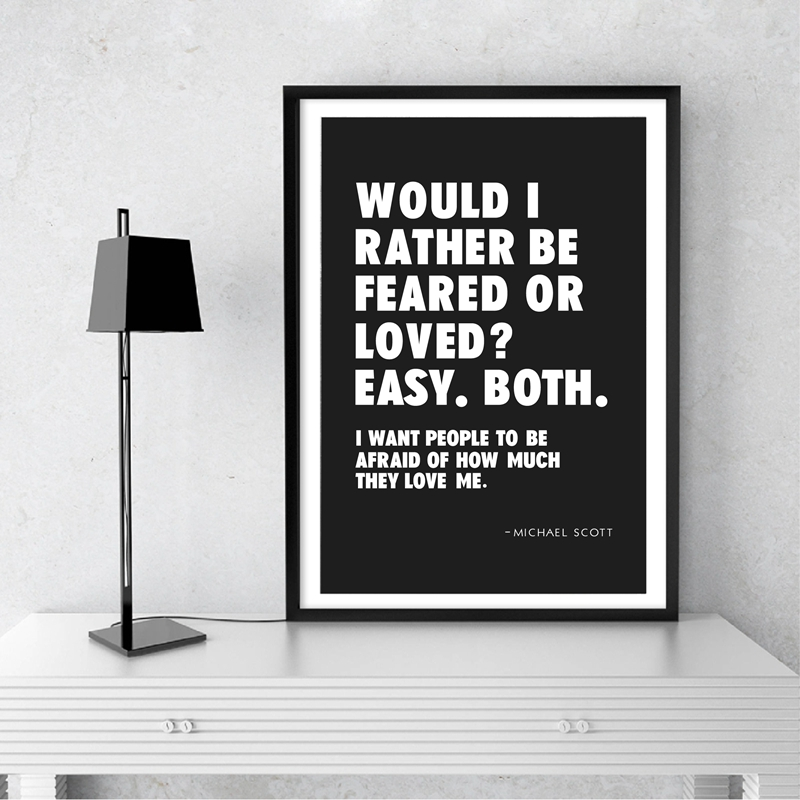 Michael Scott Office Quote Print Wall Art Picture Canvas Painting Black & White Prints Funny TV Show Quotes Poster Office Decor image